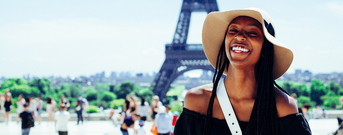 Black woman in Paris in traveling alone